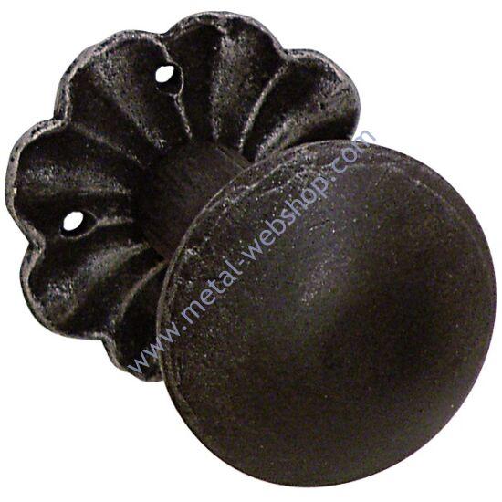 Kovácsolt gombkilincs rozettával, fix, nem elfordítható, festett és antikolt (803)
