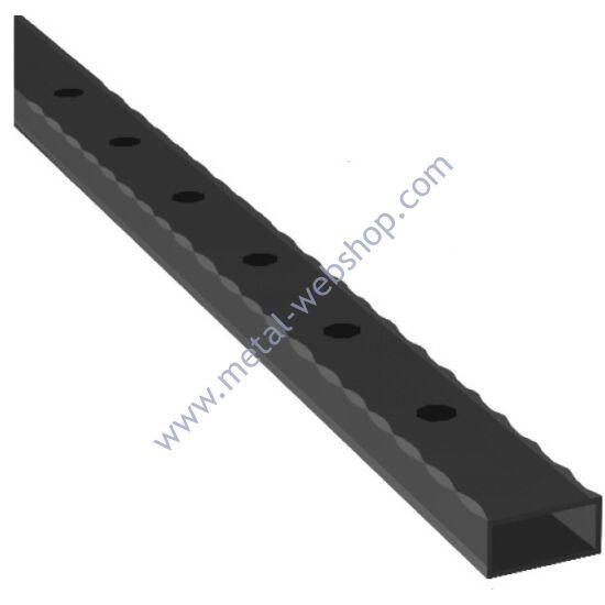 Lyukasztott mángorolt zártszelvény 50x25x2mm, félig átfúrt, többféle lyukmérettel és hosszúságban