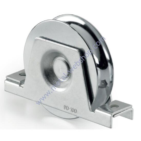 Tolókapu kerék belső konzollal, U Ø16mm vájattal, csapágyas, többféle átmérőben