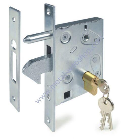 Tolókapu zár (99x211mm) zárfogadó lemezzel, réz biztonsági zárbetéttel, 3 kulccsal, többféle profilmérethez